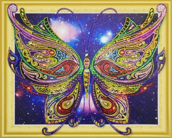 Partial Diamond Painting Kit - Butterfly Blossom (Crystal Diamonds - Special Shapes)-40x50cm- - Paint With Diamonds