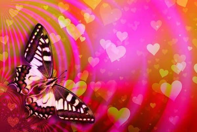 Love Diamond Painting Kit - Butterfly Love Background-Square 20x30cm- - Paint With Diamonds