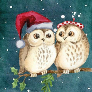 Owl Diamond Painting Kit - Christmas Owl Friends-Square 20x20cm- - Paint With Diamonds