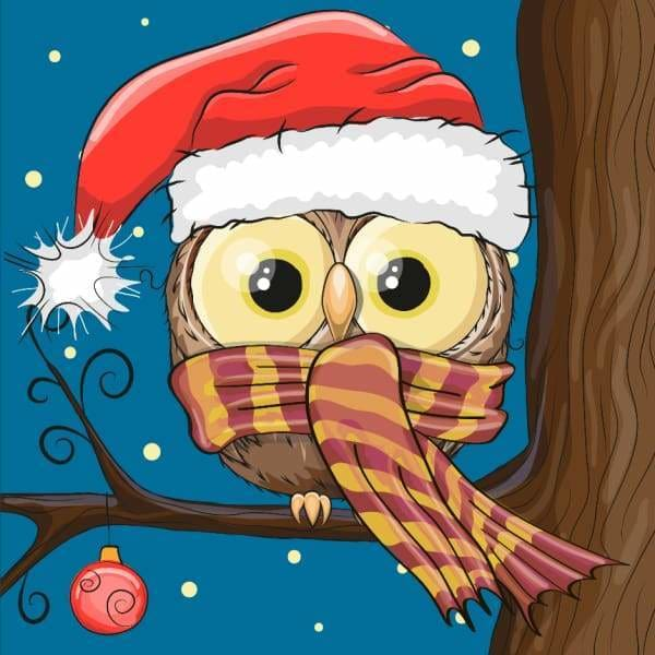 Owl Diamond Painting Kit - Christmas Owl-Square 20x20cm- - Paint With Diamonds