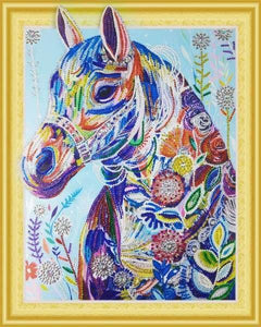 Partial Diamond Painting Kit - Colorful Equestrian (Crystal Diamonds - Special Shapes)-40x50cm- - Paint With Diamonds