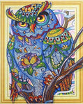 Partial Diamond Painting Kit - Colorful Owl (Crystal Diamonds - Special Shapes)-40x50cm- - Paint With Diamonds