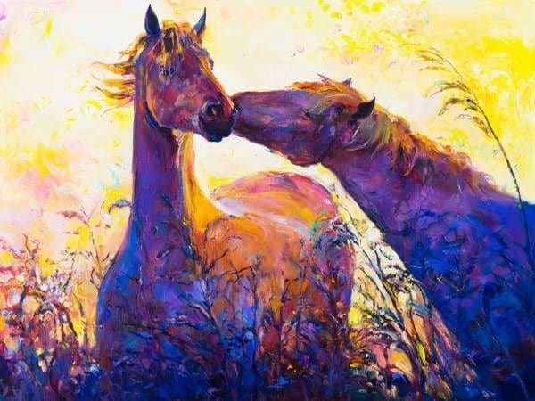 Horse Diamond Painting Kit - Colorful Stallions-Square 15x20cm- - Paint With Diamonds