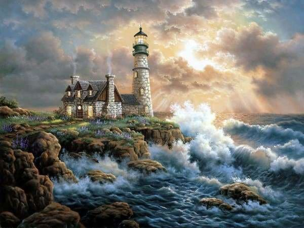 Sunset Diamond Painting Kit - Crashing Waves Lighthouse-Square 15x20cm- - Paint With Diamonds