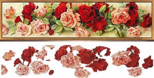 Partial Diamond Painting Kit - Crimson Floral - Partial-Round Drill 90x30cm- - Paint With Diamonds