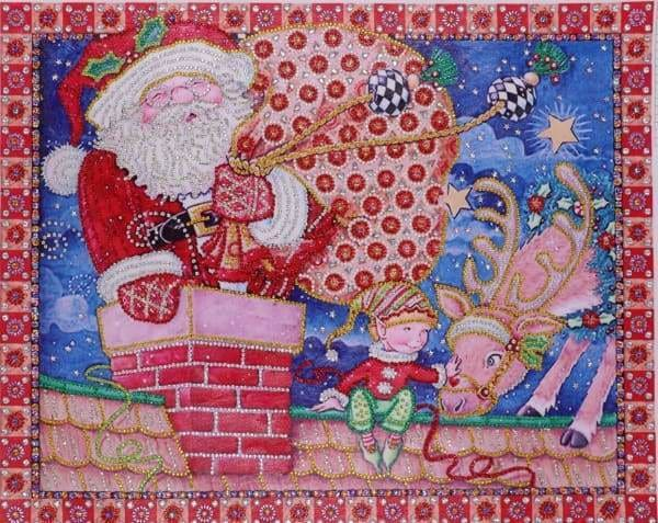 Partial Diamond Painting Kit - Down The Chimney (Crystal Diamonds - Special Shapes)-40x50cm- - Paint With Diamonds