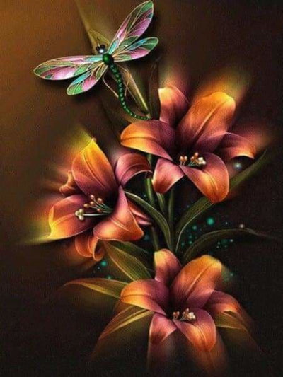Flower Diamond Painting Kit - Dragonfly Illumination-Square 15x20cm- - Paint With Diamonds