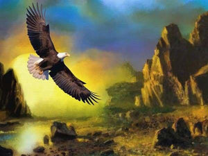 Sunset Diamond Painting Kit - Eagle Over Land-Square 20x30cm- - Paint With Diamonds