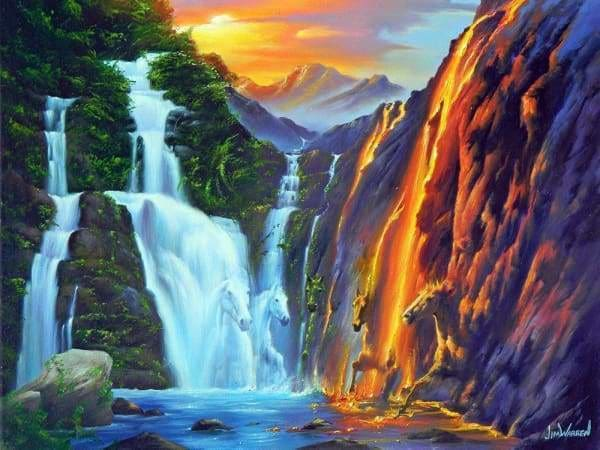 Waterfall Diamond Painting Kit - Elements Of Life-Square 15x20cm- - Paint With Diamonds