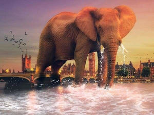 Safari Diamond Painting Kit - Elephant In London-Square 15x20cm- - Paint With Diamonds