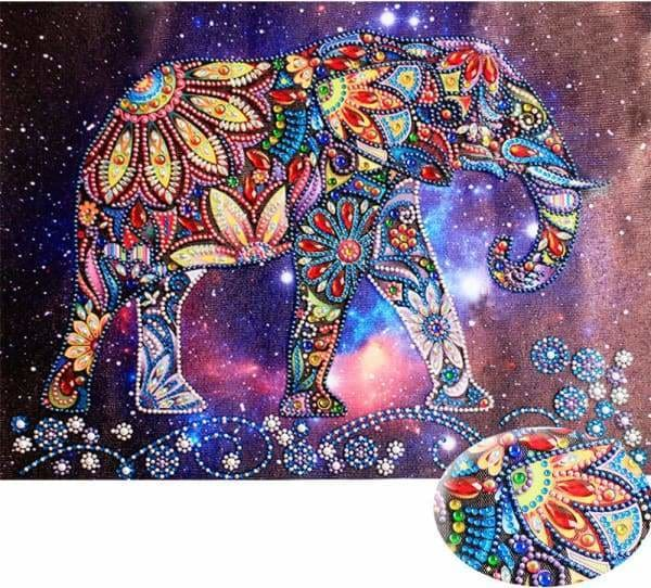 Safari Diamond Painting Kit - Elephant In The Universe (Crystal Diamonds - Special Shapes)-30x40cm- - Paint With Diamonds