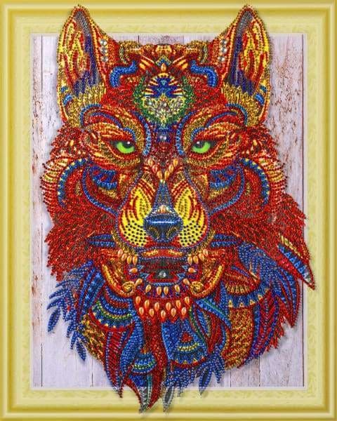 Wolf Diamond Painting Kit - Emerald Eyes Wolf (Crystal Diamonds - Special Shapes)-40x50cm- - Paint With Diamonds