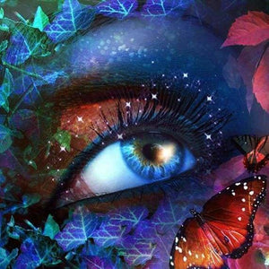 Fantasy Diamond Painting Kit - Enchanted Butterfly Eyes-Square 20x20cm- - Paint With Diamonds