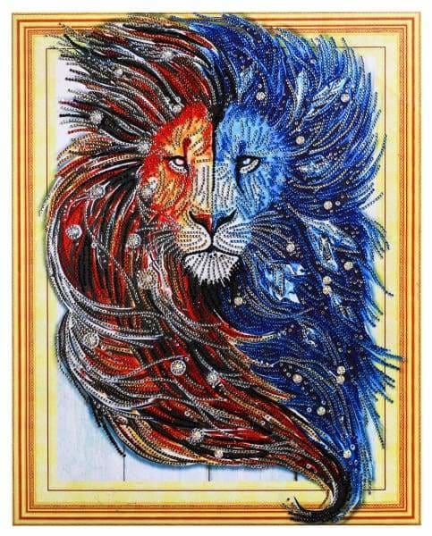 Safari Diamond Painting Kit - Fire And Ice Lion (Crystal Diamonds - Special Shapes)-40x50cm- - Paint With Diamonds