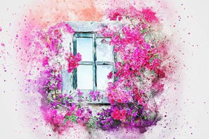 Nature Diamond Painting Kit - Flowers Outside My Window-Square 20x30cm- - Paint With Diamonds