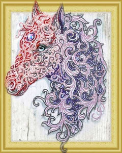 Partial Diamond Painting Kit - Fuschia Horse (Crystal Diamonds - Special Shapes)-40x50cm- - Paint With Diamonds