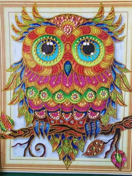 Partial Diamond Painting Kit - Gentle Owl (Crystal Diamonds - Special Shapes)-40x50cm- - Paint With Diamonds