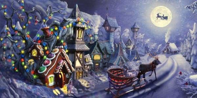 Christmas Diamond Painting Kit - Gingerbread House-Square 40x20cm- - Paint With Diamonds