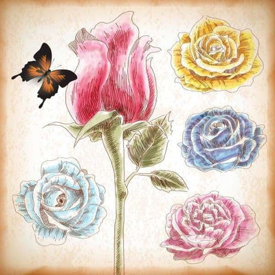 Flower Diamond Painting Kit - Hand Drawn Roses-Square 20x20cm- - Paint With Diamonds
