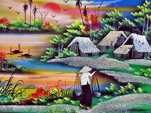Landscape Diamond Painting Kit - Hanoi Rice Fields-Square 15x20cm- - Paint With Diamonds