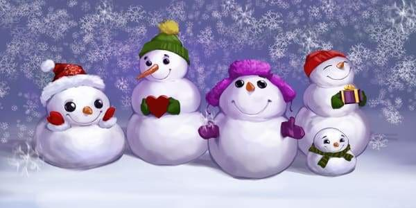 Christmas Diamond Painting Kit - Happy Snowman Family-Square 40x20cm- - Paint With Diamonds