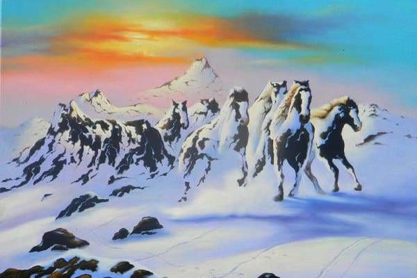Jim Warren Diamond Painting Kit - Horses In The Snow-Square 20x30cm- - Paint With Diamonds