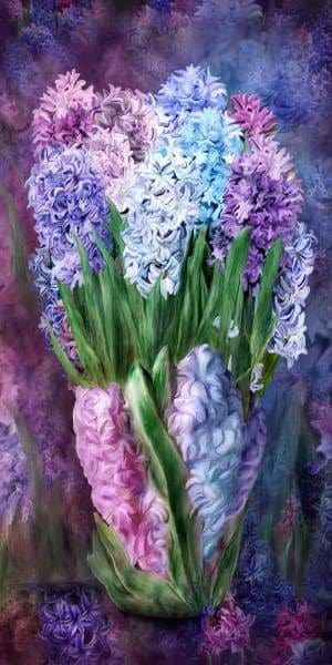 Flower Diamond Painting Kit - Hyacinth In Vase-Square 40x20cm- - Paint With Diamonds