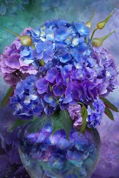Flower Diamond Painting Kit - Hydrangea In Vase-Square 20x30cm- - Paint With Diamonds
