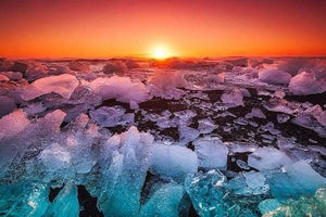 Sunset Diamond Painting Kit - Iceland Ice Chunks-Square 20x30cm- - Paint With Diamonds