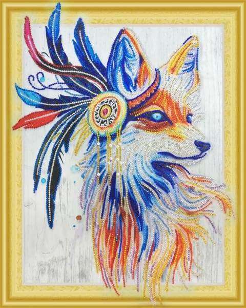 Partial Diamond Painting Kit - Indian Fox (Crystal Diamonds - Special Shapes)-40x50cm- - Paint With Diamonds