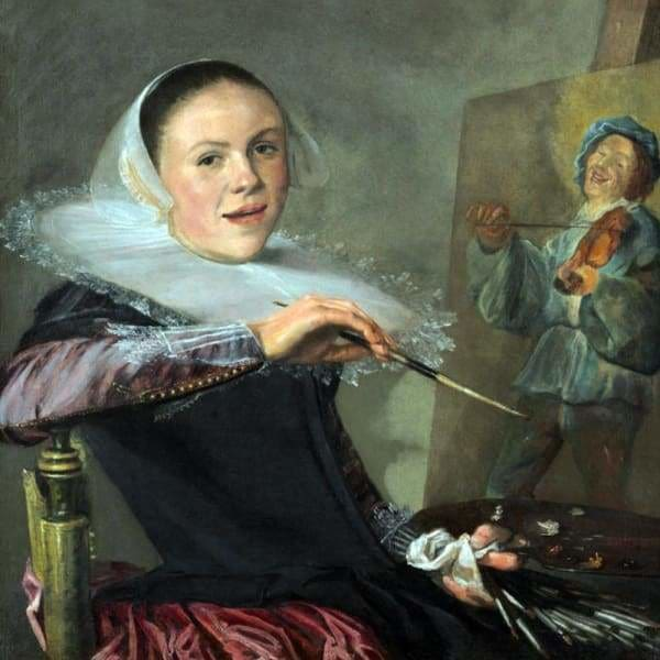 Famous People Diamond Painting Kit - Judith Leyster Self Portrait-Square 20x20cm- - Paint With Diamonds