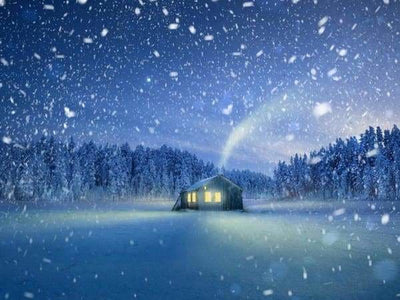Christmas Diamond Painting Kit - Lonely Cabin-Square 15x20cm- - Paint With Diamonds