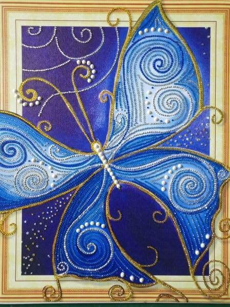 Partial Diamond Painting Kit - Majestic Butterfly (Crystal Diamonds - Special Shapes)-40x50cm- - Paint With Diamonds