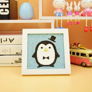 Kids Diamond Painting Kit - Mr. Penguin Crystal Diamond Beginner Kit-No Frame-15x15cm- - Paint With Diamonds