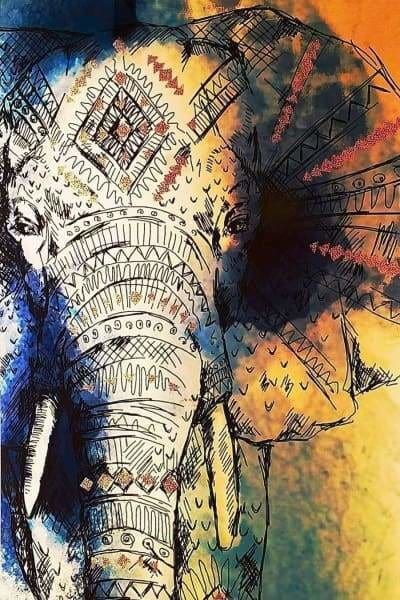 Safari Diamond Painting Kit - Namaste Elephante-Square 20x30cm- - Paint With Diamonds