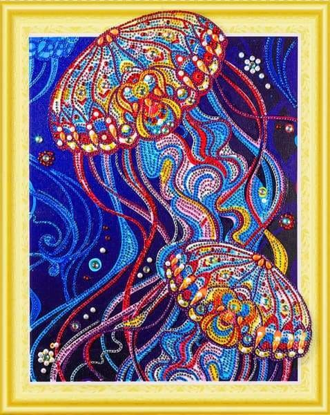 Partial Diamond Painting Kit - Ornamental Jellyfish (Crystal Diamonds - Special Shapes)-40x50cm- - Paint With Diamonds