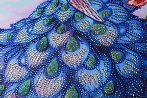 Peacock Diamond Painting Kit - Peacock Blossom (Crystal Diamonds - Special Shapes)-40x50cm- - Paint With Diamonds