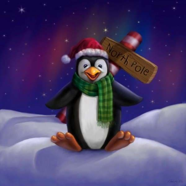 Christmas Diamond Painting Kit - Penguin At The North Pole-Square 20x20cm- - Paint With Diamonds