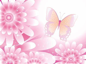 Flower Diamond Painting Kit - Pink Flowers And Butterfly-Square 15x20cm- - Paint With Diamonds