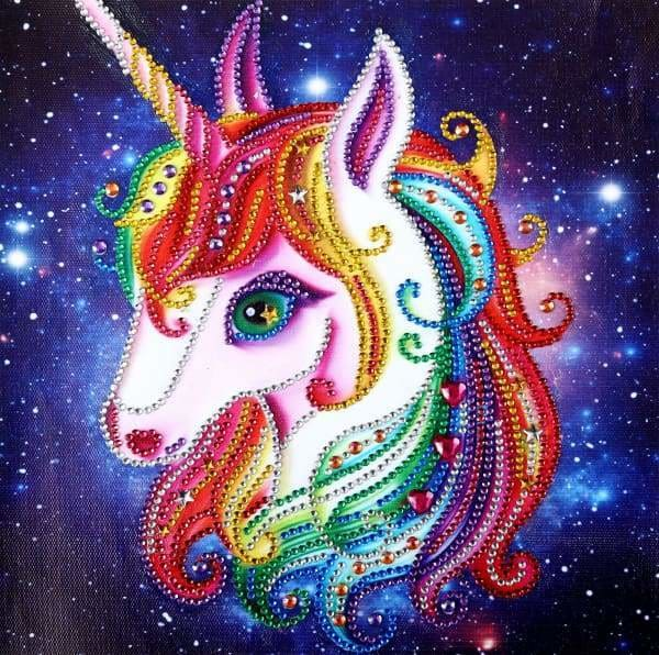 Unicorn Diamond Painting Kit - Rainbow Unicorn (Crystal Diamonds - Special Shapes)-25x25cm- - Paint With Diamonds
