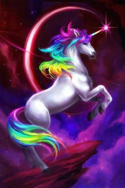 Unicorn Diamond Painting Kit - Rainbow Unicorn-Square 20x30cm- - Paint With Diamonds