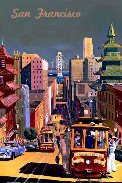 Skyline Diamond Painting Kit - San Francisco Vintage Poster-Square 20x30cm- - Paint With Diamonds
