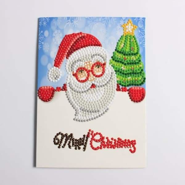 Christmas Diamond Painting Kit - Santa Christmas Cards - 4x Pack-4x Pack- - Paint With Diamonds