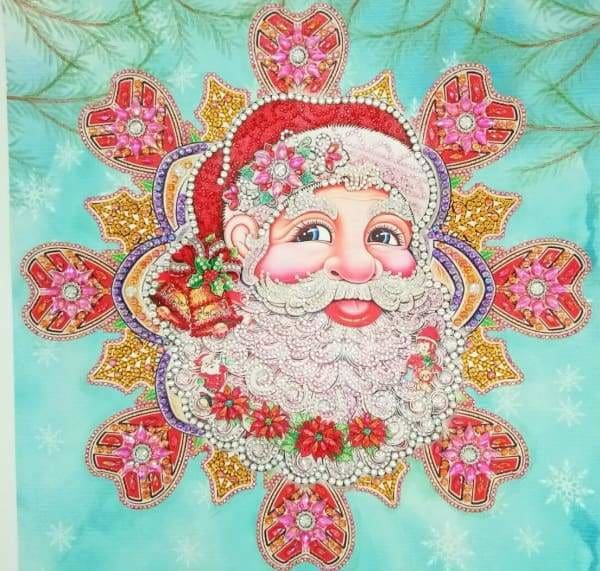 Partial Diamond Painting Kit - Santa Ornament (Crystal Diamonds - Special Shapes)-40x50cm- - Paint With Diamonds