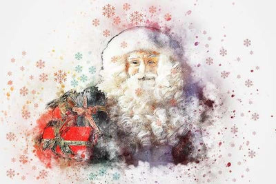 Christmas Diamond Painting Kit - Santa Waterolor Abstract-Square 20x30cm- - Paint With Diamonds