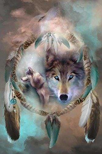*Ships From US* - Wolf Dreams Of Peace XL - 40x60cm - Plus FREE Premium Double-Sided Pen Dream Catcher FBA Wolf