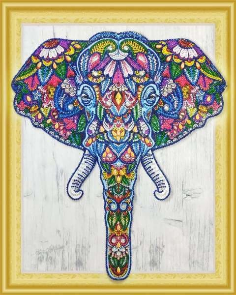 Safari Diamond Painting Kit - Spiritual Elephant (Crystal Diamonds - Special Shapes)-40x50cm- - Paint With Diamonds