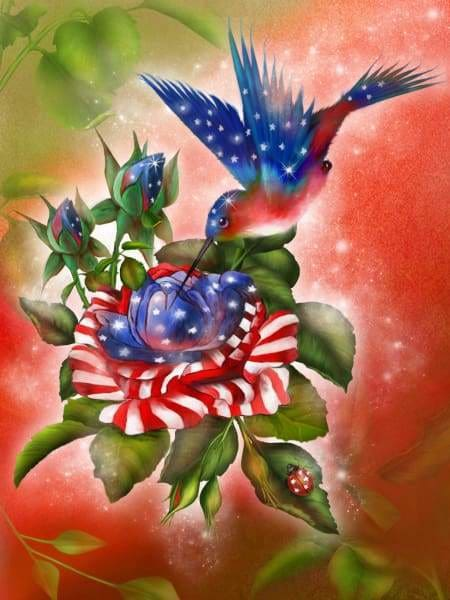 Flower Diamond Painting Kit - Star Spangled Hummer-Square 15x20cm- - Paint With Diamonds