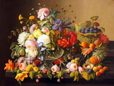 Nature Diamond Painting Kit - Still Life Flowers And Fruit-Square 15x20cm- - Paint With Diamonds