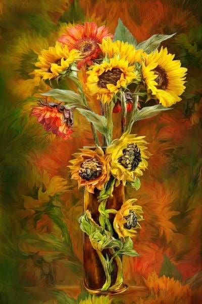 Flower Diamond Painting Kit - Sunflowers In Sunflower Vase-Square 20x30cm- - Paint With Diamonds